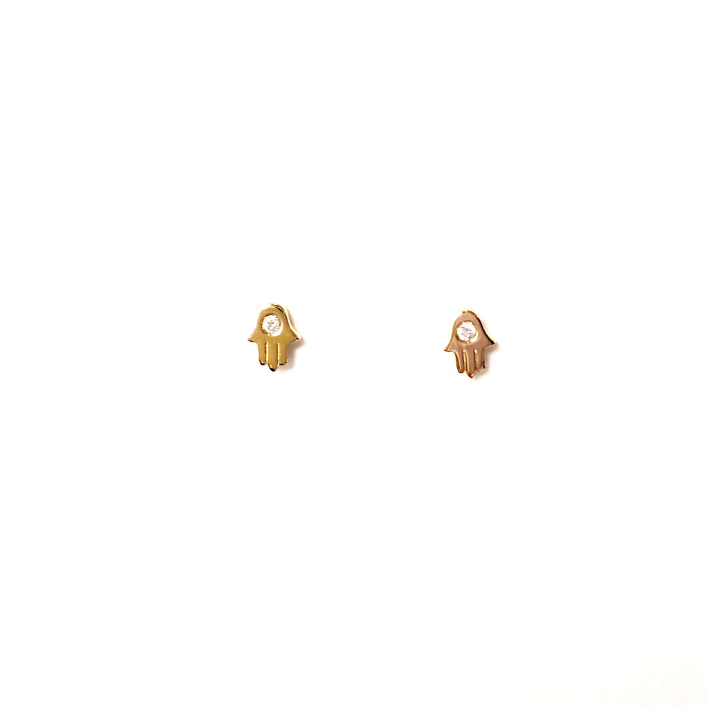 Hamsa Studs with Diamond - A.FIER LIFESTYLE
