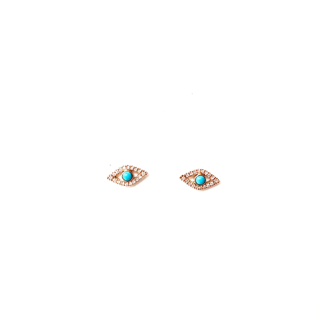 Diamond Evil Eye Studs with center stone - A.FIER LIFESTYLE