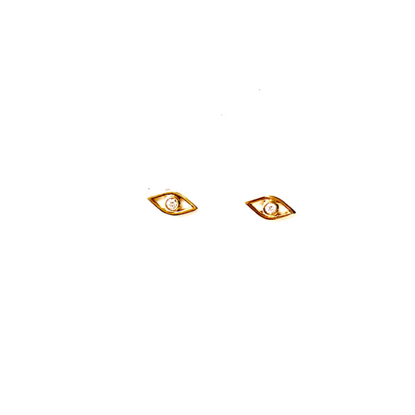 14k Gold Evil Eye Studs with Diamond - A.FIER LIFESTYLE