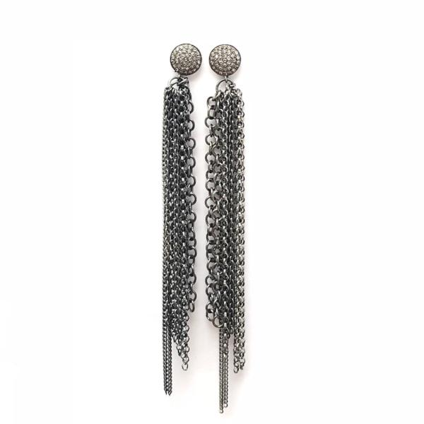 PAVE DIAMOND STUD AND TASSEL EARRINGS - A.FIER LIFESTYLE