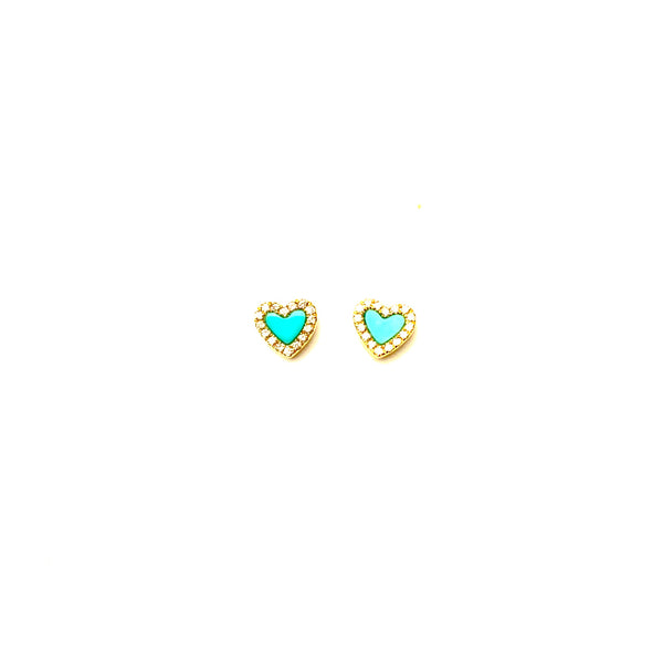 Mini turquoise heart earrings - PAIR