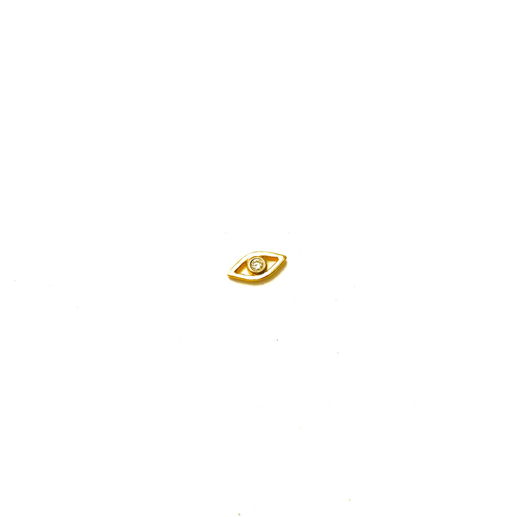 Gold Evil Eye Earring with Diamond - SINGLE