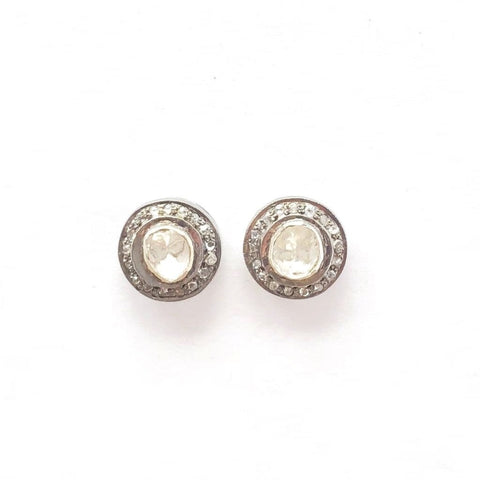 ROSE CUT DIAMOND STUD EARRINGS WITH PAVE BEZEL - A.FIER LIFESTYLE