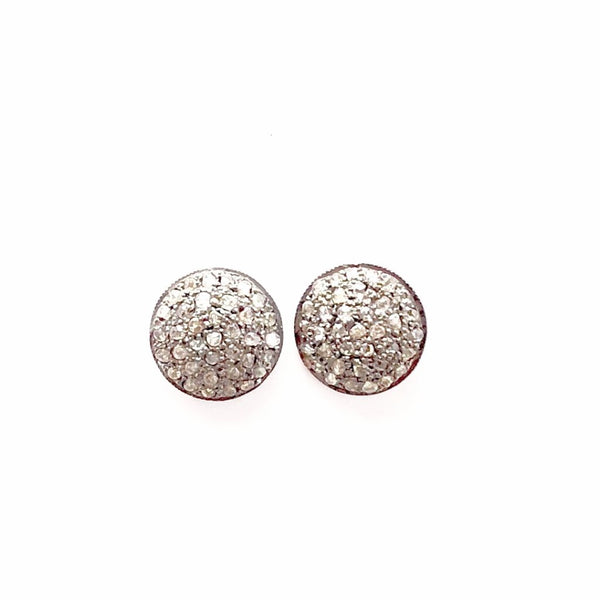 PAVE DIAMOND ROUND STUD EARRINGS - MEDIUM - A.FIER LIFESTYLE