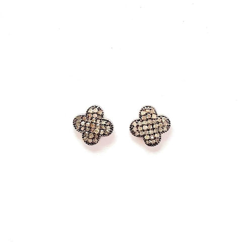 PAVE DIAMOND CLOVER STUD EARRINGS - A.FIER LIFESTYLE