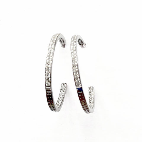 PAVE DIAMOND TWO-ROW LARGE HOOP EARRINGS - A.FIER LIFESTYLE