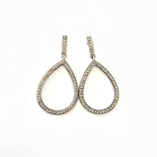 PAVE DIAMOND TEAR DROP DANGLE EARRINGS - A.FIER LIFESTYLE