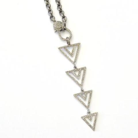 4 TRIANGLE STACKED LARIAT DIAMOND PENDANT - A.FIER LIFESTYLE