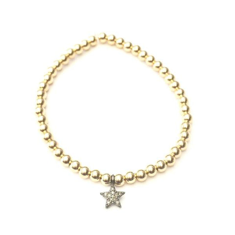 14k GOLD BALL BRACELET WITH DIAMOND STAR CHARM - A.FIER LIFESTYLE