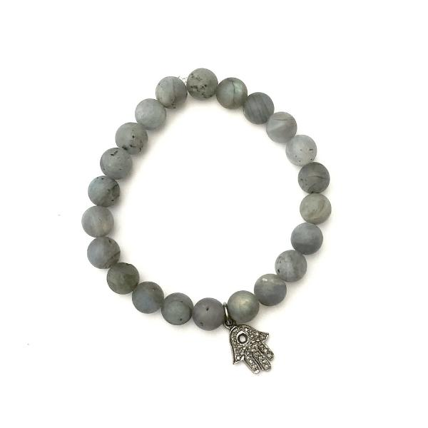 LABRADORITE WITH PAVE DIAMOND WITH PAVE HAMSA CHARM - A.FIER LIFESTYLE