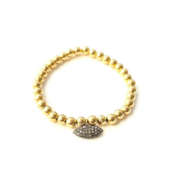 14k GOLD BALL BRACELET WITH OVAL CHARM - A.FIER LIFESTYLE