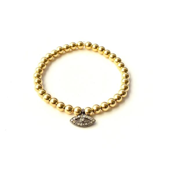 14k GOLD BALL BRACELET WITH EVIL EYE CHARM - A.FIER LIFESTYLE
