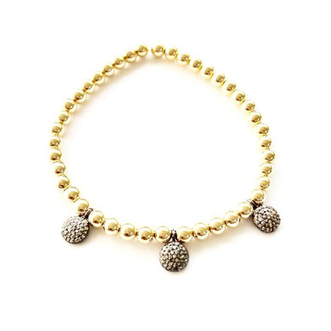 14k GOLD BALL BRACELET WITH 3-DIAMOND DISC CHARMS - A.FIER LIFESTYLE