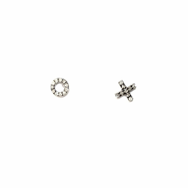SMALL PAVE DIAMOND XO STUD EARRINGS - A.FIER LIFESTYLE
