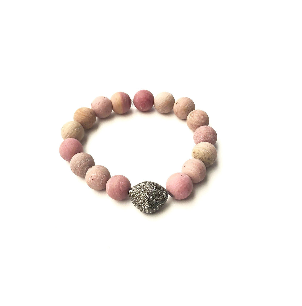 Rhodonite with pave diamond bead bracelets - A.FIER LIFESTYLE