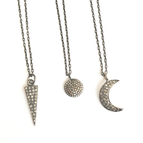 DAINTY PAVE DIAMOND CHARM NECKLACES - A.FIER LIFESTYLE
