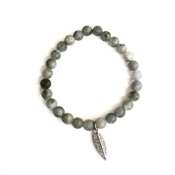 LABRADORITE WITH PAVE DIAMOND FEATHER CHARM - A.FIER LIFESTYLE