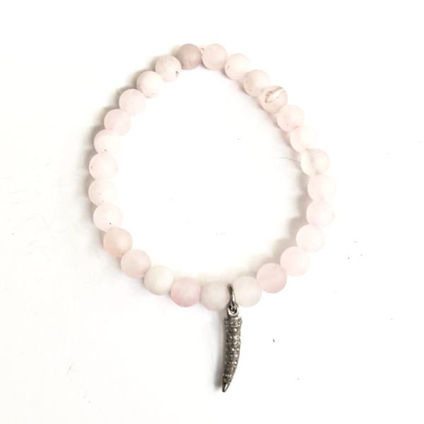 ROSE QUARTZ WITH PAVE DIAMOND TUSK CHARM - A.FIER LIFESTYLE