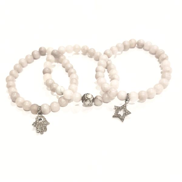 GREY JADE AND PAVE DIAMOND CHARM BRACELETS - A.FIER LIFESTYLE