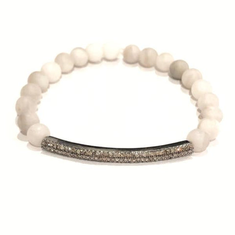 WHITE AGATE AND PAVE DIAMOND BAR BRACELET - A.FIER LIFESTYLE