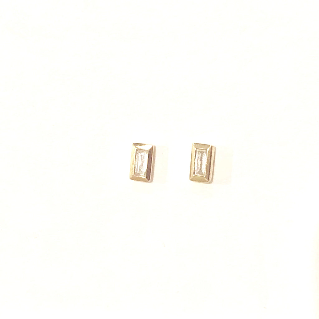 Emerald Cut Diamond Studs - PAIR
