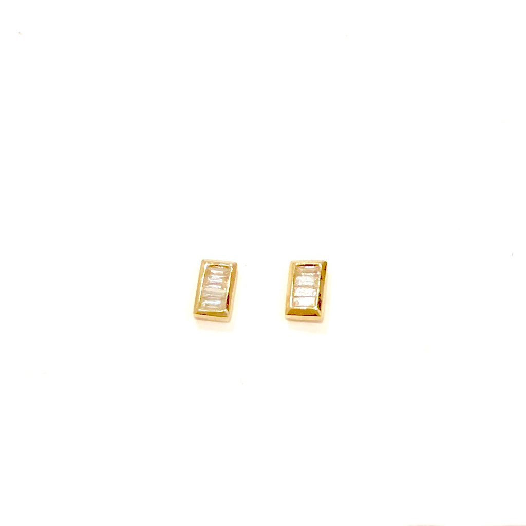 Emerald Cut Multi-Diamond Stud Earrings - PAIR