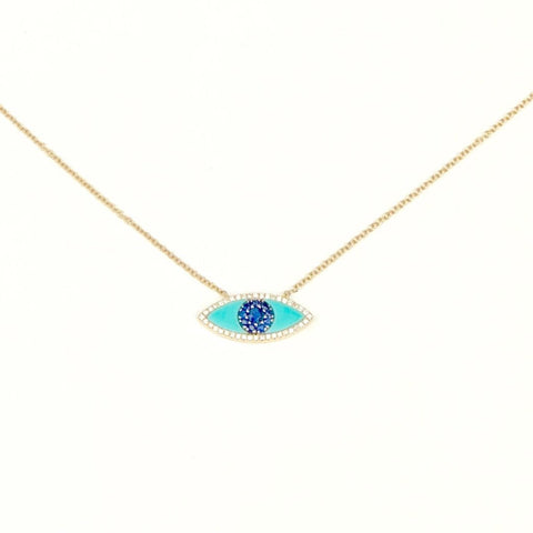 LARGE TURQUOISE, SAPPHIRE, DIAMOND EVIL EYE NECKLACE
