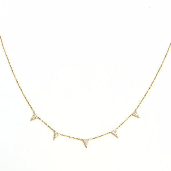 LARGE TRIANGLE DIAMOND & GOLD NECKLACE
