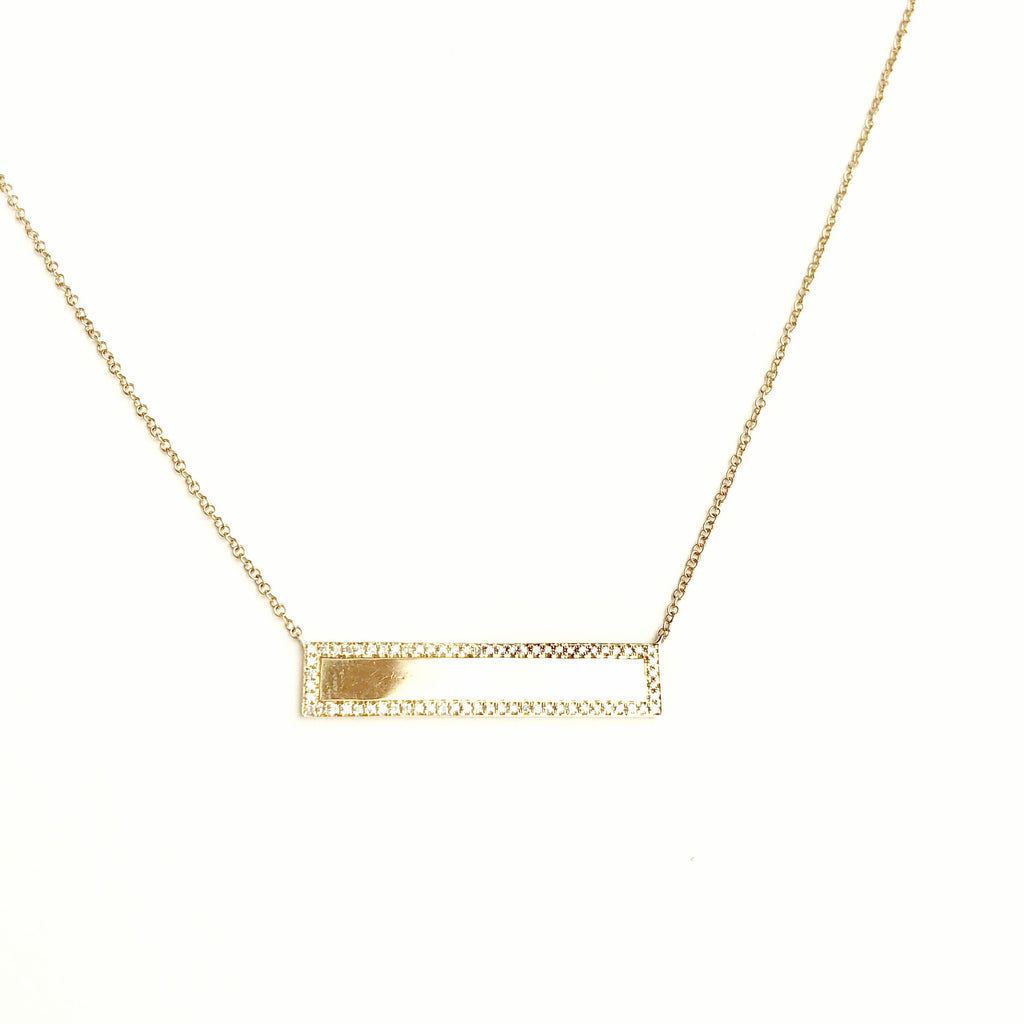 GOLD AND DIAMOND PLATE NECKLACE
