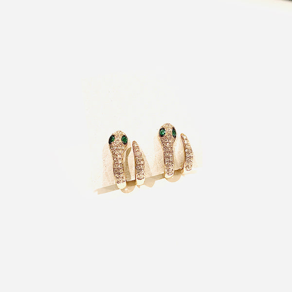 Double Wrap Diamond Snake Earrings