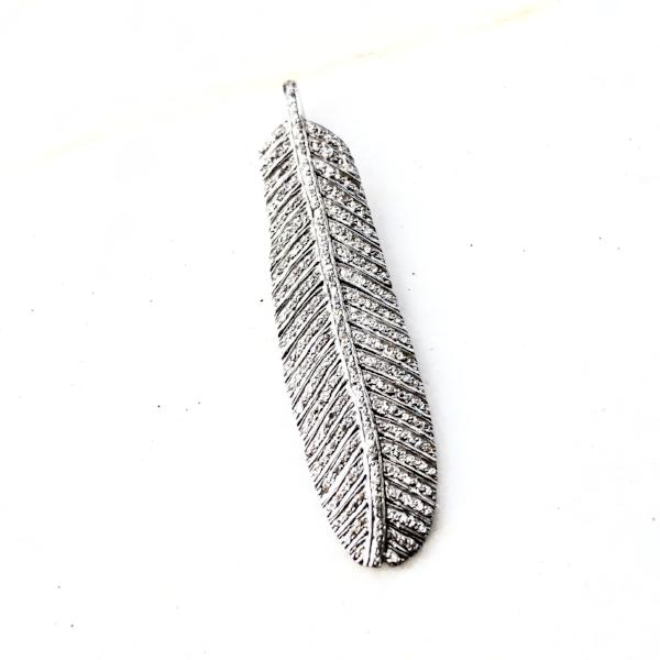 MEDIUM PAVE DIAMOND FEATHER PENDANT - A.FIER LIFESTYLE