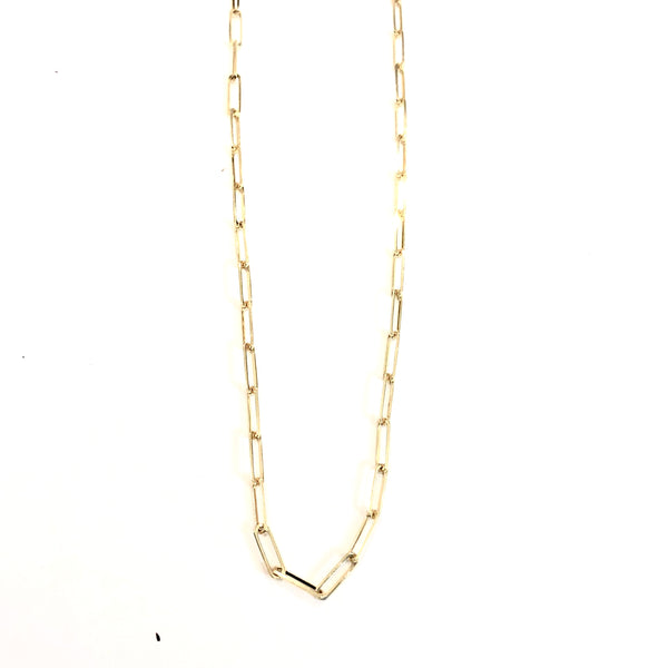 14k GOLD PAPER CLIP CHAIN NECKLACE