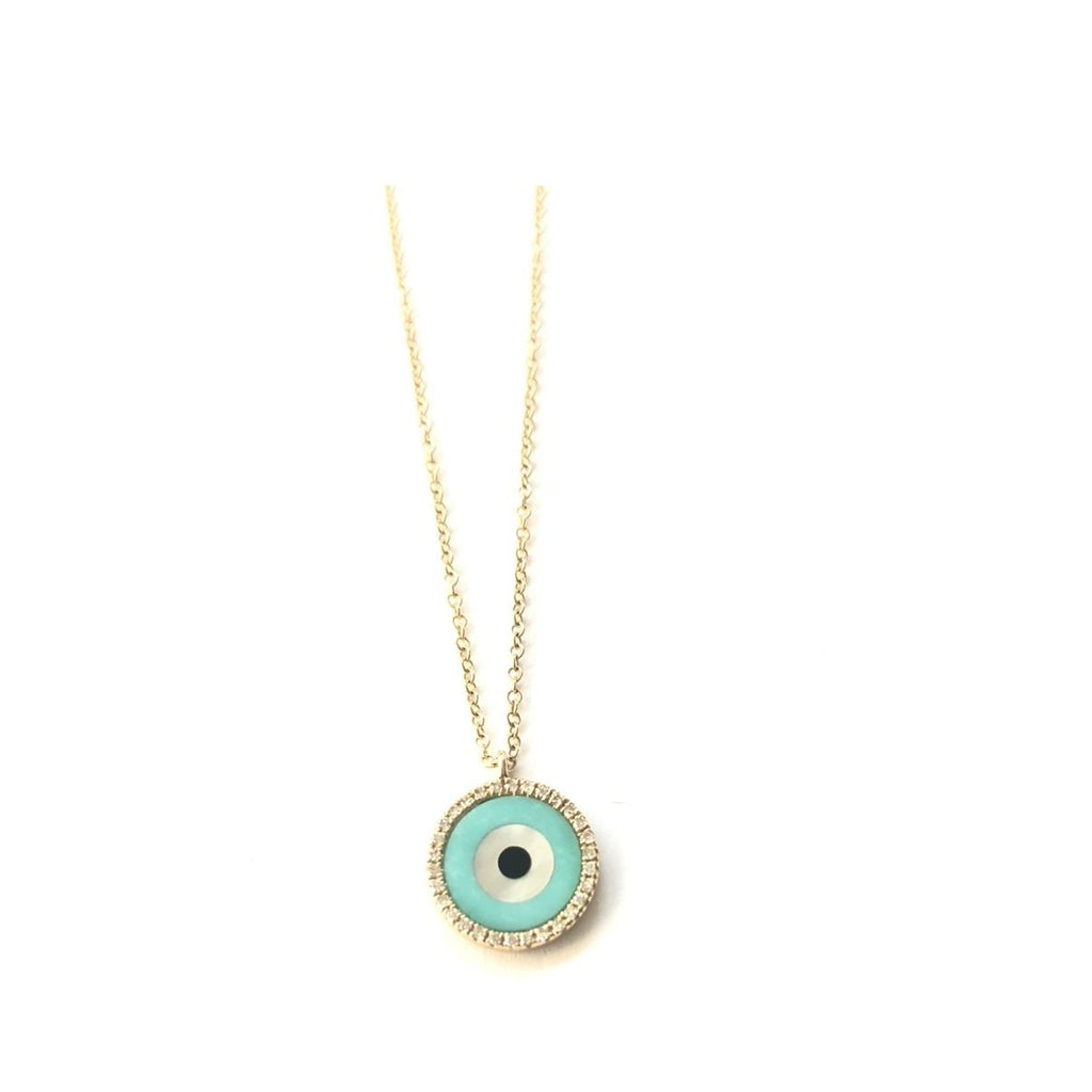Small Round Turquoise and Diamond Evil Eye Necklace