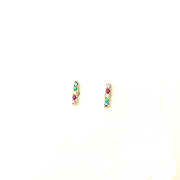 Mini Rainbow Stick Earrings - PAIR