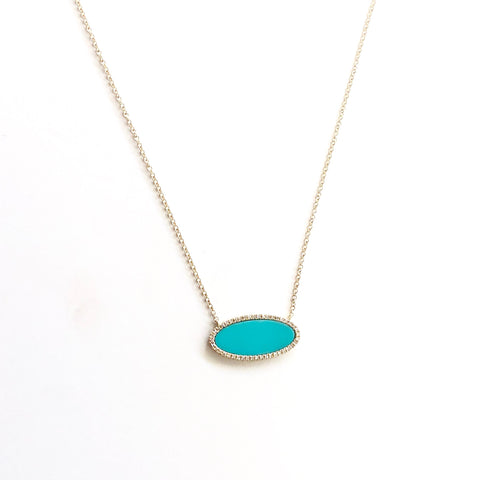 LARGE TURQUOISE AND DIAMOND OVAL NECKLACE