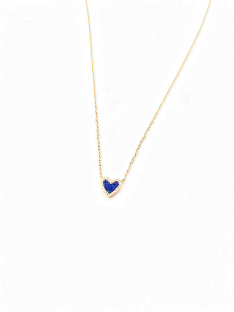 Lapis Blue and Diamond Heart Necklace