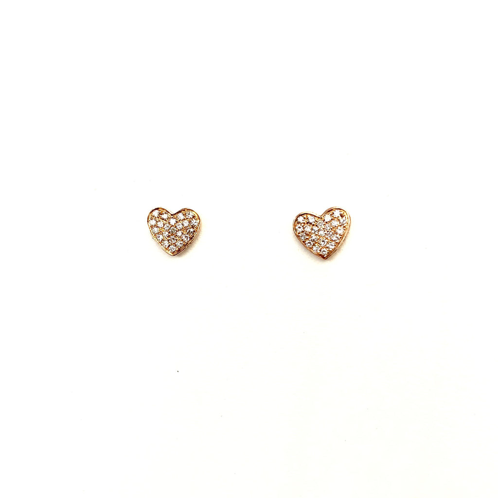 Rose Gold Diamond Heart Earrings