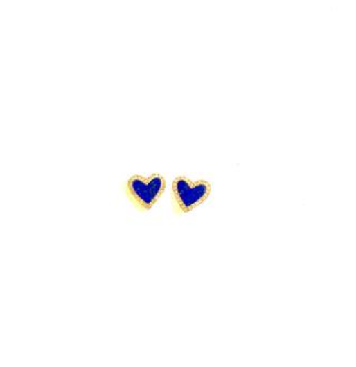 Blue Lapis and Diamond Heart Earrings - PAIR