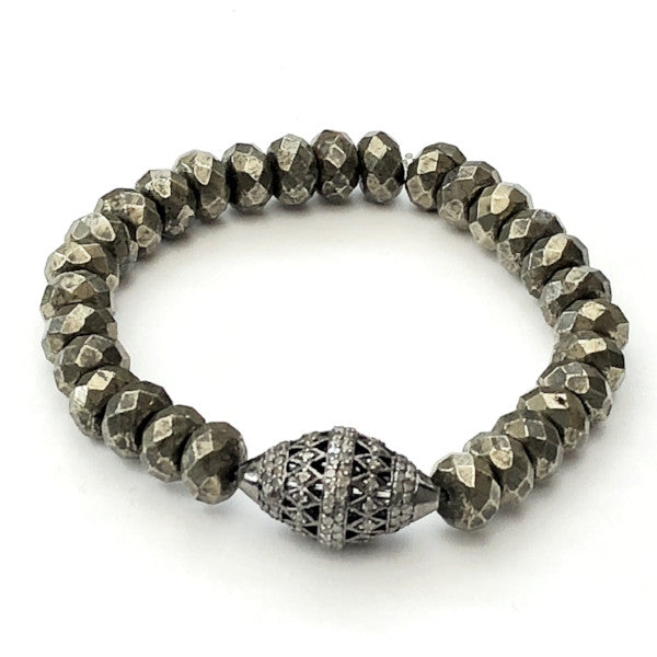 FACETED PYRITE RONDEL BRACELET WITH ART DECO PAVE BEAD - A.FIER LIFESTYLE