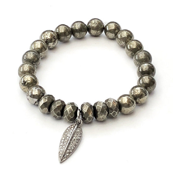 PYRITE WITH PAVE FEATHER CHARM BRACELET - A.FIER LIFESTYLE