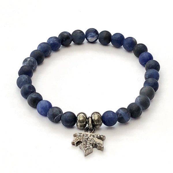NAVY DUMORTIERITE WITH PAVE DIAMOND LEAF CHARM - A.FIER LIFESTYLE
