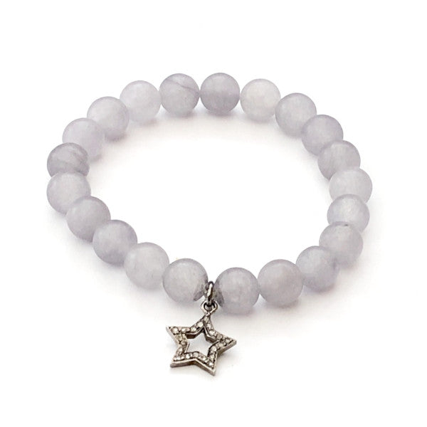 GREY AGATE WITH PAVE DIAMOND STAR CHARM - A.FIER LIFESTYLE