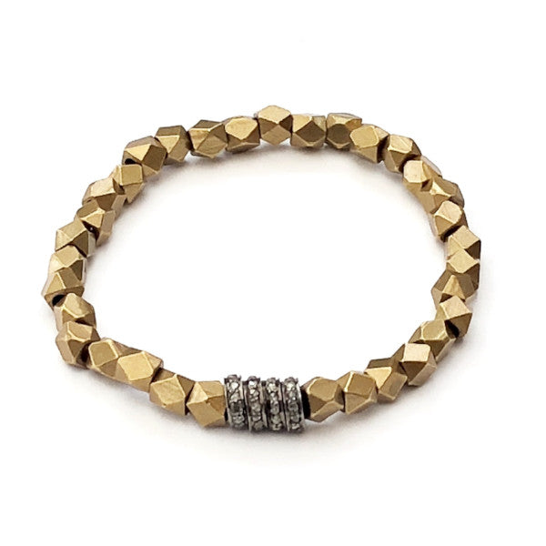 BRASS GEOMETRIC BEADS WITH FOUR PAVE DIAMOND SPACERS - A.FIER LIFESTYLE