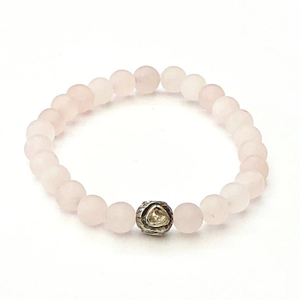 ROSE QUARTZ WITH ROSE CUT DIAMOND ROUND BEAD - A.FIER LIFESTYLE