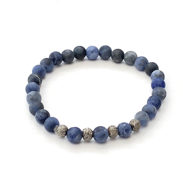 SODALITE WITH FOUR PAVE DIAMOND ROUND SPACERS - A.FIER LIFESTYLE