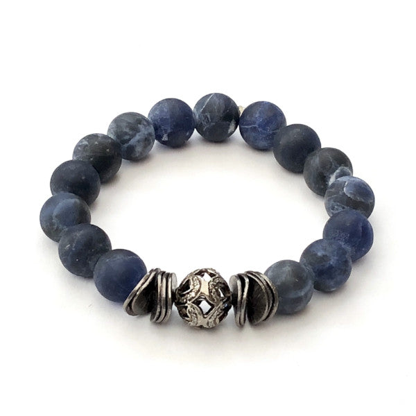 SODALITE WITH METAL DISCS AND LARGE PAVE DIAMOND ART DECO BEAD - A.FIER LIFESTYLE