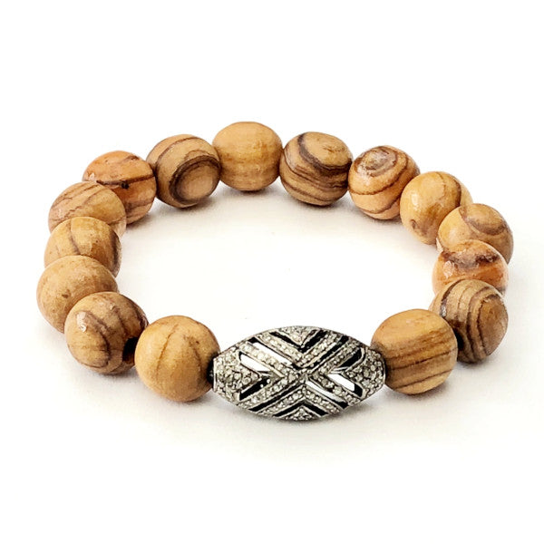 OLIVE WOOD WITH ART DECO OVAL BEAD - A.FIER LIFESTYLE
