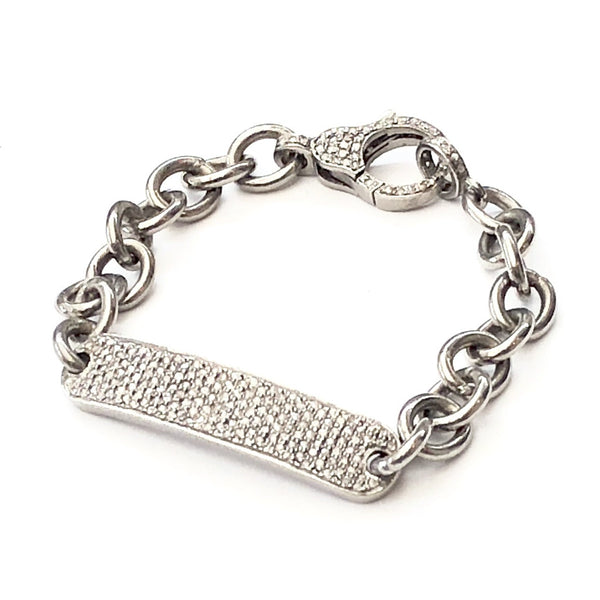 PAVE DIAMOND AND CHAIN ID BRACELET - A.FIER LIFESTYLE