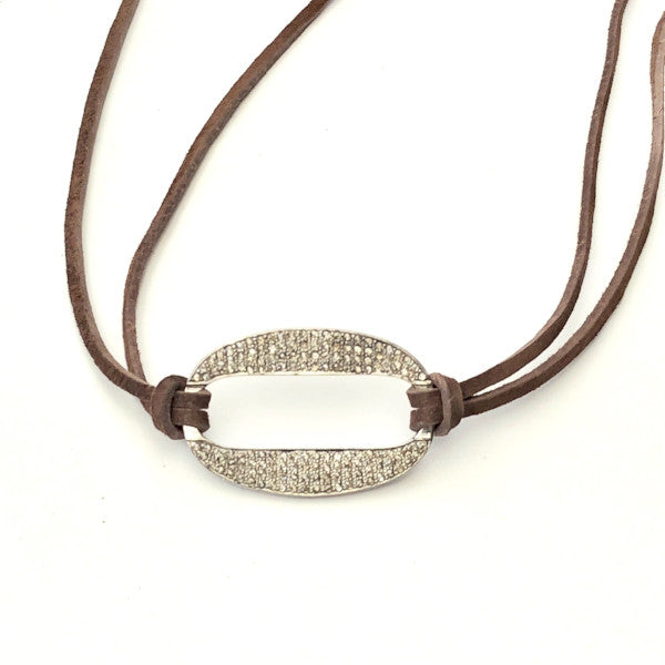PAVE DIAMOND HOLLOW DISC WITH SUEDE WRAP BRACELET - A.FIER LIFESTYLE