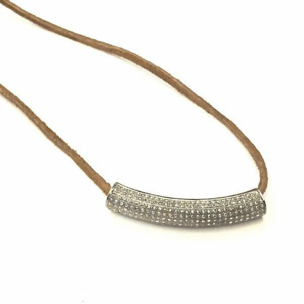 PAVE DIAMOND CARVED BAR WITH SUEDE STRAP BRACELET - A.FIER LIFESTYLE